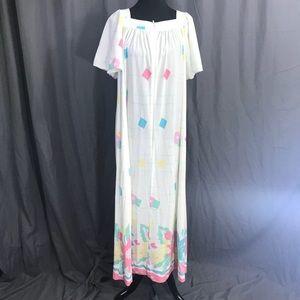 80s Sears Abstract Mumu Patio Kaftan Dress L